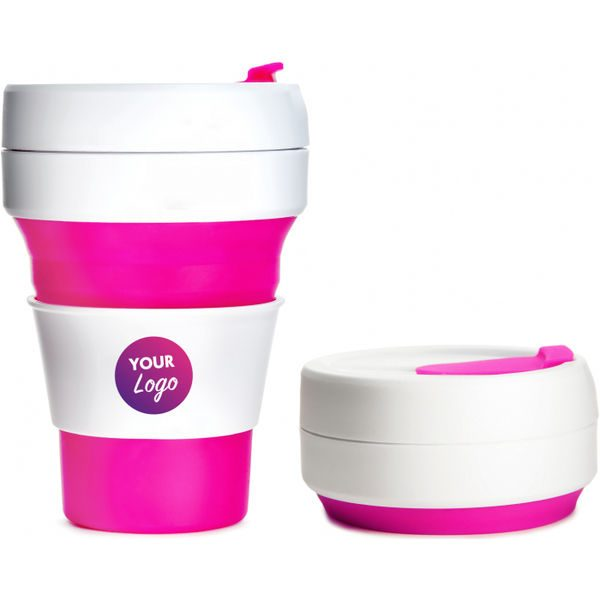 Collapsible Pocket Travel Cup pink