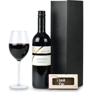 Branded red wine and chocolate gift