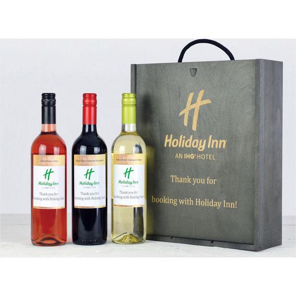 Personalised Wine Trio Gift Box Branded Wine Gift Box