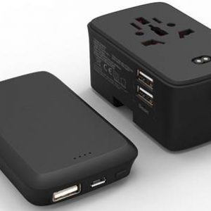 2 in 1 Travel adapter with powerbank