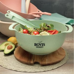 112993 Lucha Wheat Straw Salad Bowl and Servers