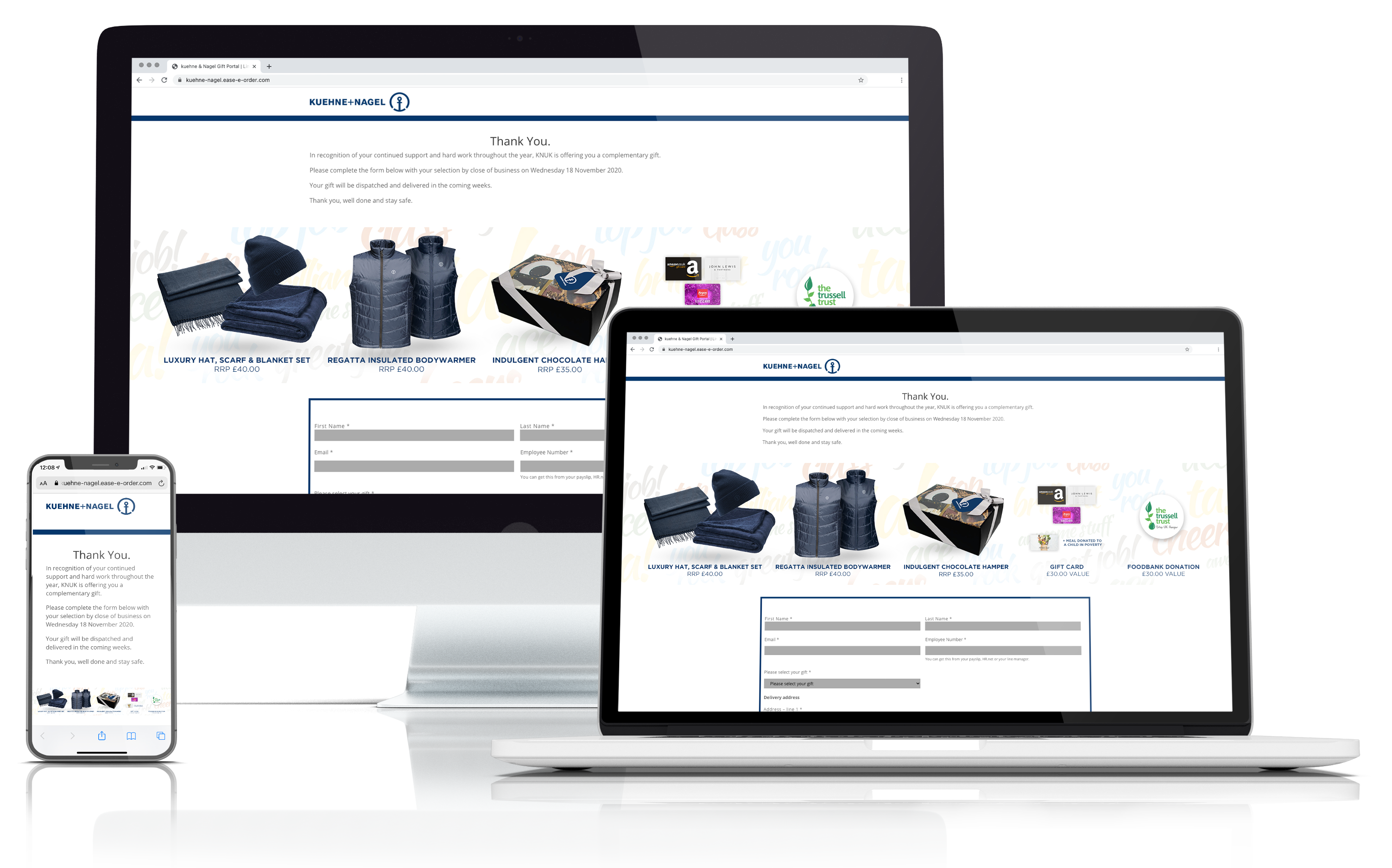Kuehne+Nagel mock-up web portal merchandise promo items